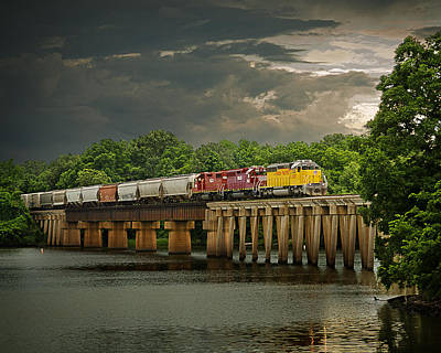 Train On A Stormy River Evening Poster