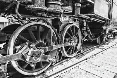 Train - Steam Engine Wheels - Black And White Poster by Paul Ward