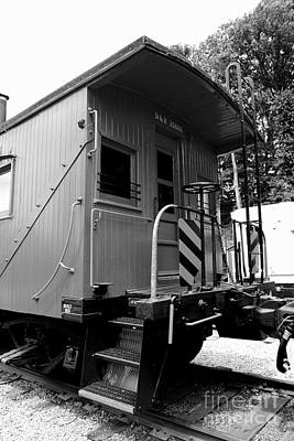 Train - The Caboose - Black And White Poster by Paul Ward