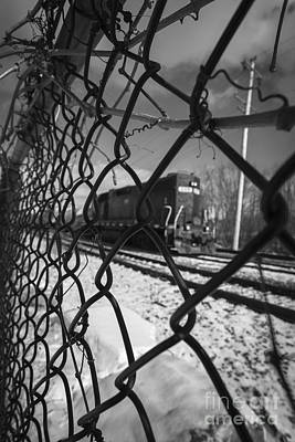 Train Through The Chain Link Fence Poster by Edward Fielding