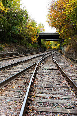 Train Tracks And Bridge In Autumn Poster