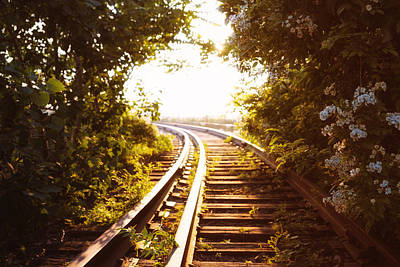 Train Tracks At Sunset Poster by Vivienne Gucwa