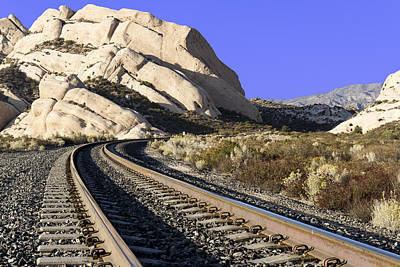 Railroad Tracks At The Mormon Rocks Poster