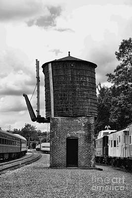 Train - Water Tower -  Black And White Poster by Paul Ward