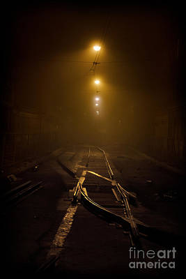 Tram Rails At Night Poster by Jaroslaw Blaminsky