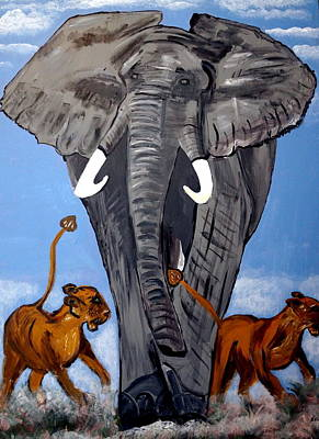 Poster featuring the painting Trampling Elephant by Nora Shepley