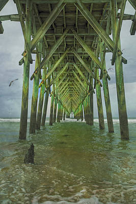 Tranquil Topsail Surf City Pier Poster by Betsy Knapp