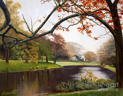 Tranquil Town Pond In East Hampton Poster by Barbara Barber
