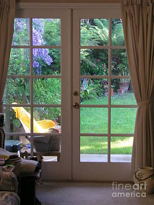 Tranquility Through French Doors Poster by Bev Conover