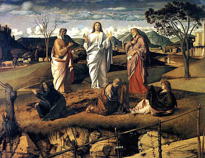 Poster featuring the painting Transfiguration Of Christ 1487 Giovanni Bellini by Karon Melillo DeVega