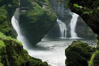 Traunfall Waterfall In Viecht Poster