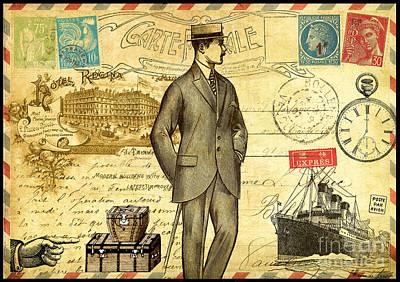 Travel Diary Man Poster by Marion De Lauzun