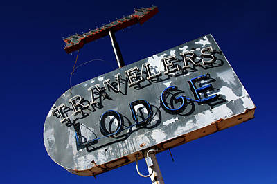 Travelers Lodge Neon Poster