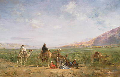 Travellers Resting At An Oasis Poster