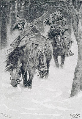 Travelling In Frontier Days, Illustration From The City Of Cleveland By Edmund Kirke, Pub Poster