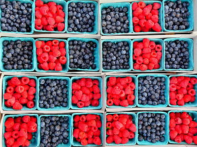 Trays Of Fresh Blueberies And Raspberries Poster