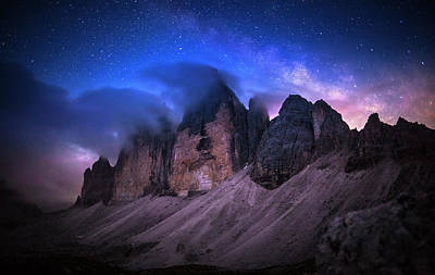 Tre Cime De Lavaredo At Night Poster