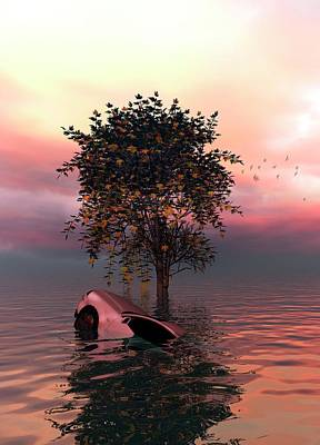 Tree And Car In Water Poster by Victor Habbick Visions