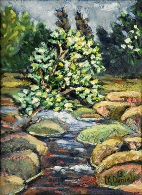 Poster featuring the painting Tree And Stream by Michael Daniels