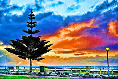 Poster featuring the photograph Tree And Sunset by Yew Kwang