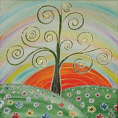 Poster featuring the painting Tree Of Happiness by Nina Mitkova