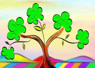 Tree On Rainbow Colored Landscape - Whimsical Artwork Poster