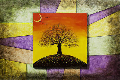 Tree Silhouette And Crescent Moon At Sunset Painting Poster