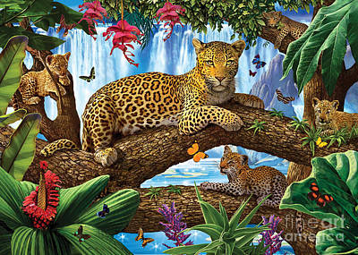 Tree Top Leopard Family Poster by Steve Crisp