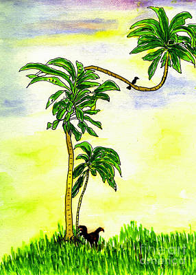 Poster featuring the painting Tree With Birds by Mukta Gupta