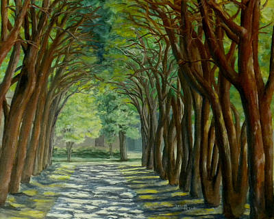 Poster featuring the painting Treelined Walkway At Lsu In Shreveport Louisiana by Lenora  De Lude