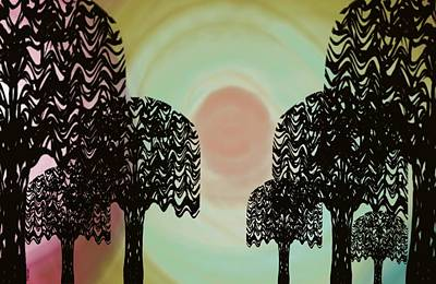 Trees Of Light Poster by Christine Fournier
