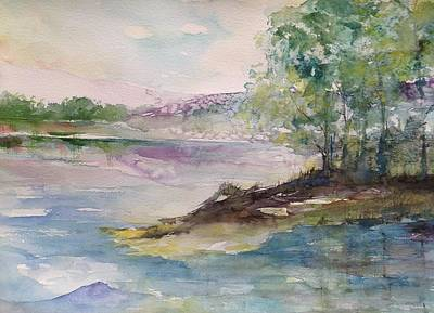Trees On Water's Edge Poster by Robin Miller-Bookhout