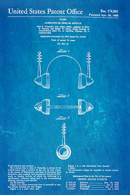 Tremulis Earmuffs Patent Art 1955 Blueprint Poster by Ian Monk