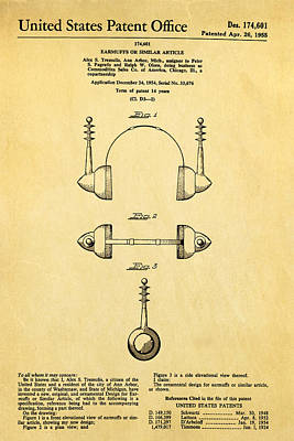 Tremulis Earmuffs Patent Art 1955 Poster by Ian Monk