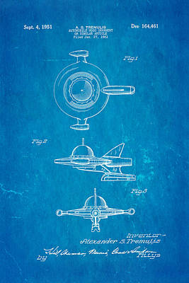 Tremulis Spaceship Hood Ornament Patent Art 1951 Blueprint Poster