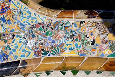 Trencadis Mosaic At Gaudi Park Guell In Barcelona Poster
