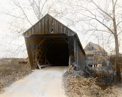 Trent's Mills Covered Bridge Buckingham County Virginia Poster by Bill Cannon