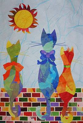 Poster featuring the mixed media Tres Gatos by Diane Miller