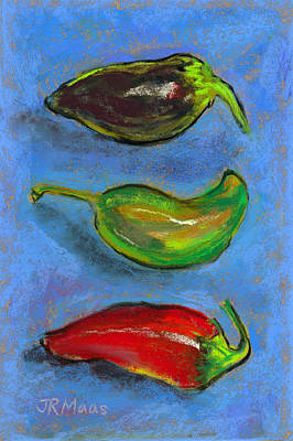 Tres Peppers Poster by Julie Maas