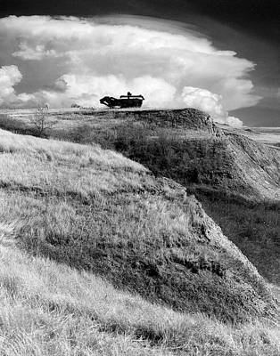 Treshing Machine On Hill Top Poster by Donald  Erickson