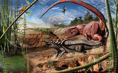 Triassic Mural 2 Poster by Julius Csotonyi