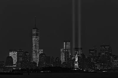 Tribute In Lights 2013 Bw Poster by Susan Candelario