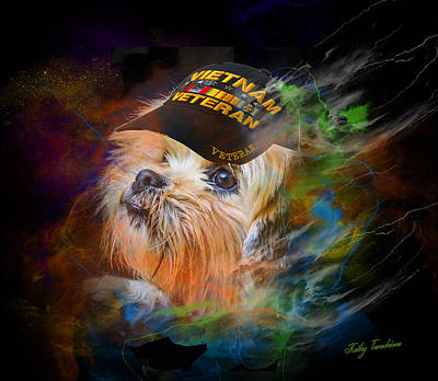 Poster featuring the digital art Tribute To Canine Veterans by Kathy Tarochione