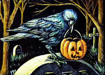 Trick Or Treat Crow Poster by Monique Morin Matson