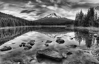 Trillium Lake Black And White Poster by Mark Kiver
