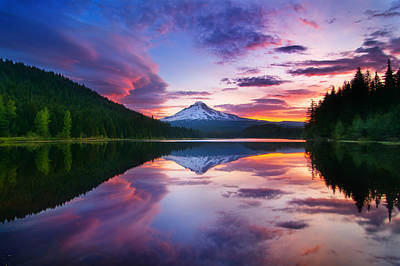 Trillium Lake Sunrise Poster by Darren  White