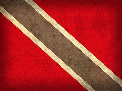Trinidad And Tobago Flag Vintage Distressed Finish Poster