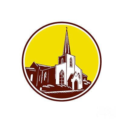 Trinity Parish Episcopal Church Woodcut Retro Poster by Aloysius Patrimonio