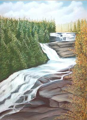 Poster featuring the pastel Triple Falls by Stacy C Bottoms