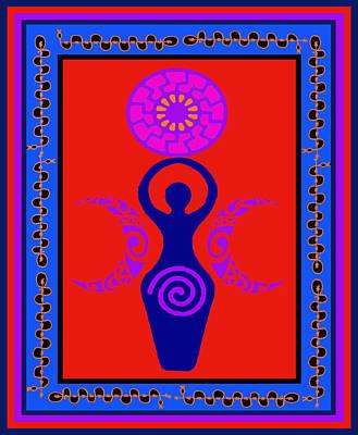 Poster featuring the digital art Triple Goddess by Vagabond Folk Art - Virginia Vivier